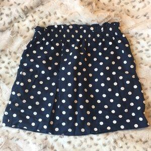 J. Crew navy polka dot mini skirt